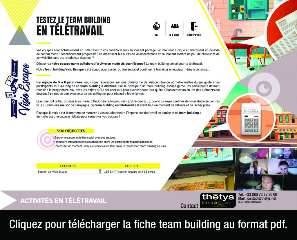 teletravail visio escape covid-19 team building